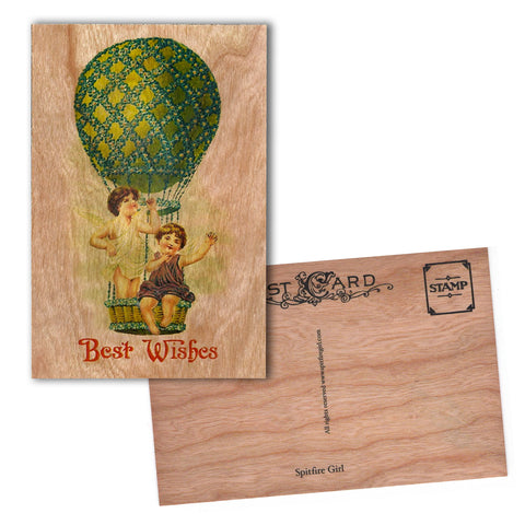 Wood Postcard Balloon Babies
