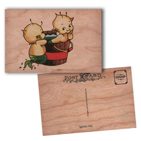 Wood Postcard Bathing Cupies