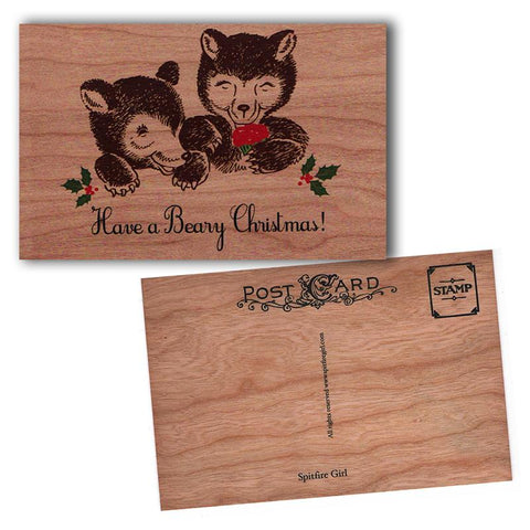 Holiday Wood Postcard Beary Christmas