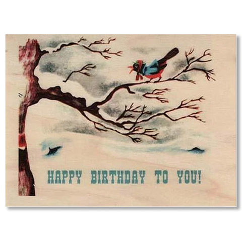 Birthday Wood Folding Card~  Birdy To You