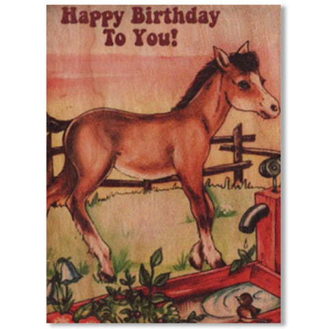 Happy Birthday Horsey Wood Folding Card