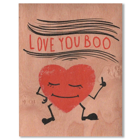 Romantic Boo Heart Wood Card