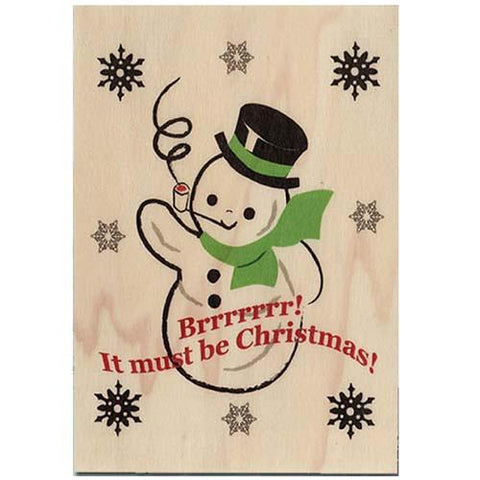Holiday Wood Folding Card Brrrr Snowman