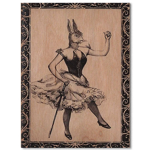 Everyday Wood Folding Card~Miss Bunny