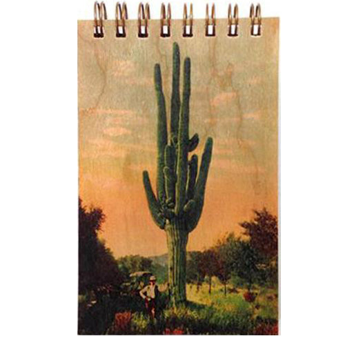 Wood Notepad Vintage Cactus Garden Small