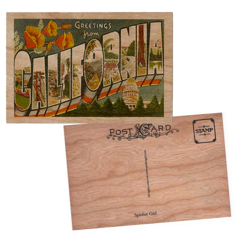 Greetings from California Wood Postcard