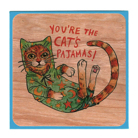 Everyday Cats Pajamas Wood Card