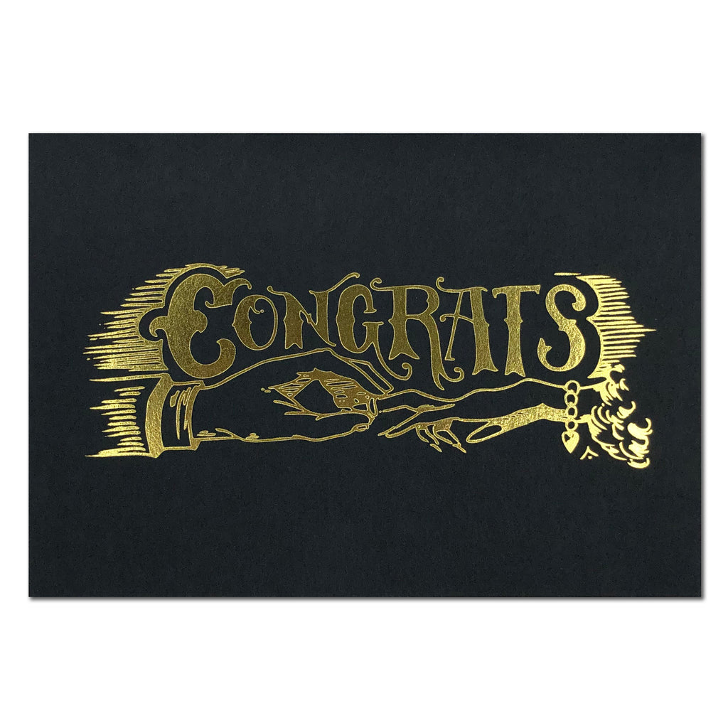 Congrats Black and Gold Foil Card