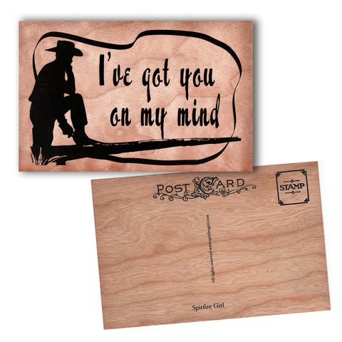 Wood Postcard I've got you on my mind