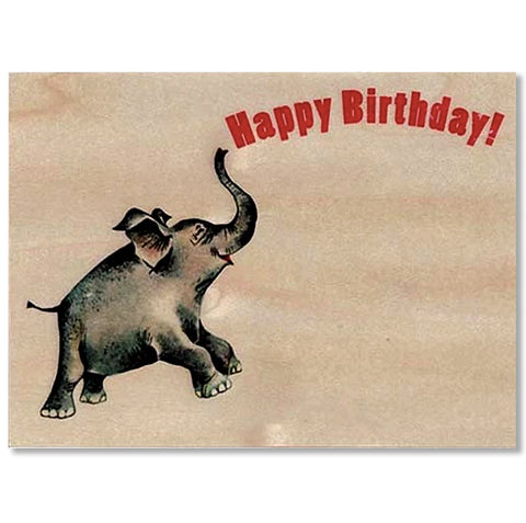 Birthday Elephant Wood Folding Card