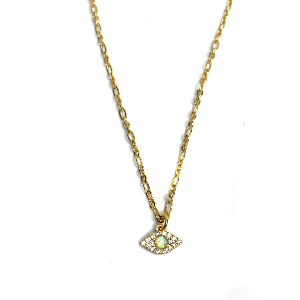 Evil Eye Gold & Opal Necklace