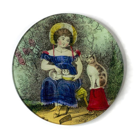 "John Derian Plate ""Girl with Cat"""