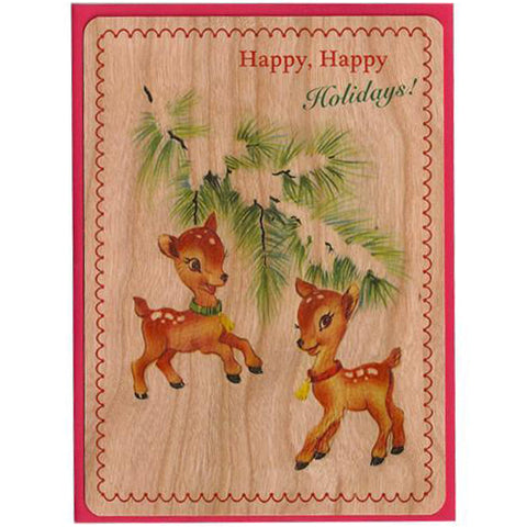 Holiday Wood Card Happy Holidays