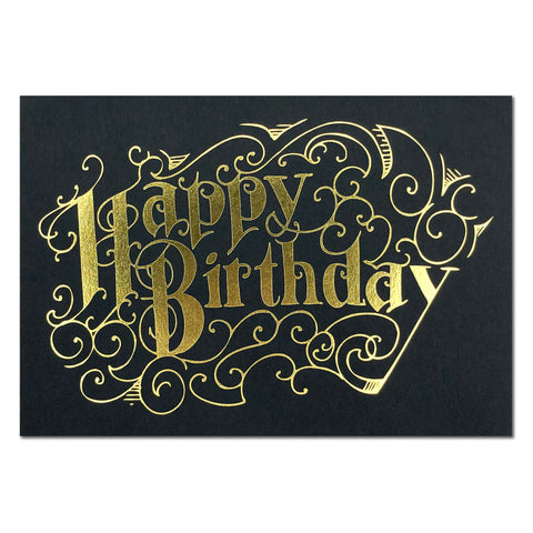 Happy Birthday Black and Gold Foil Card