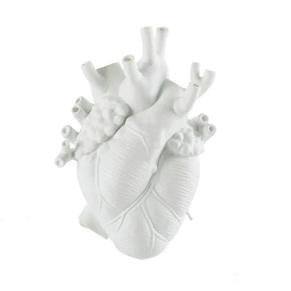 Anatomical Heart Vase White