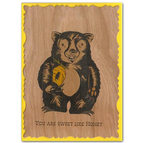 Wood Card Honey Bear