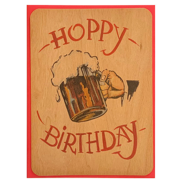 Hoppy Birthday beer wood card