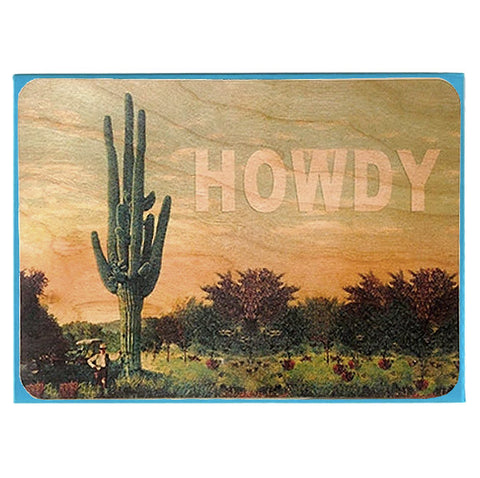 Everyday Howdy Cactus Wood Card
