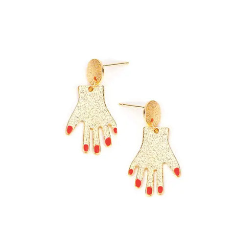 Hands with Red Nails Earrings