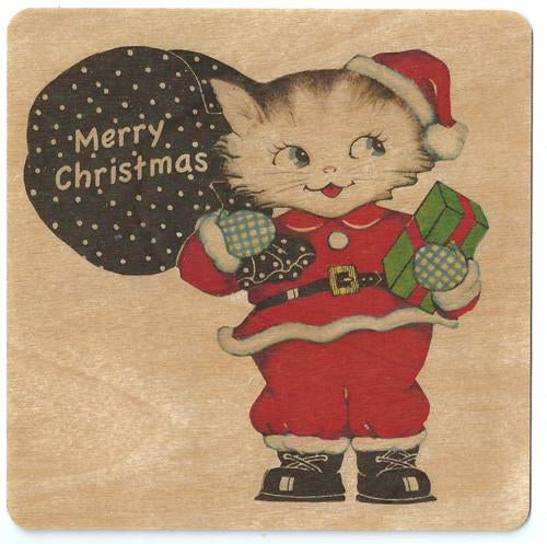 Holiday wood card Kitty Santa
