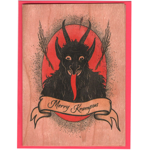 Holiday Krampus Wood Card