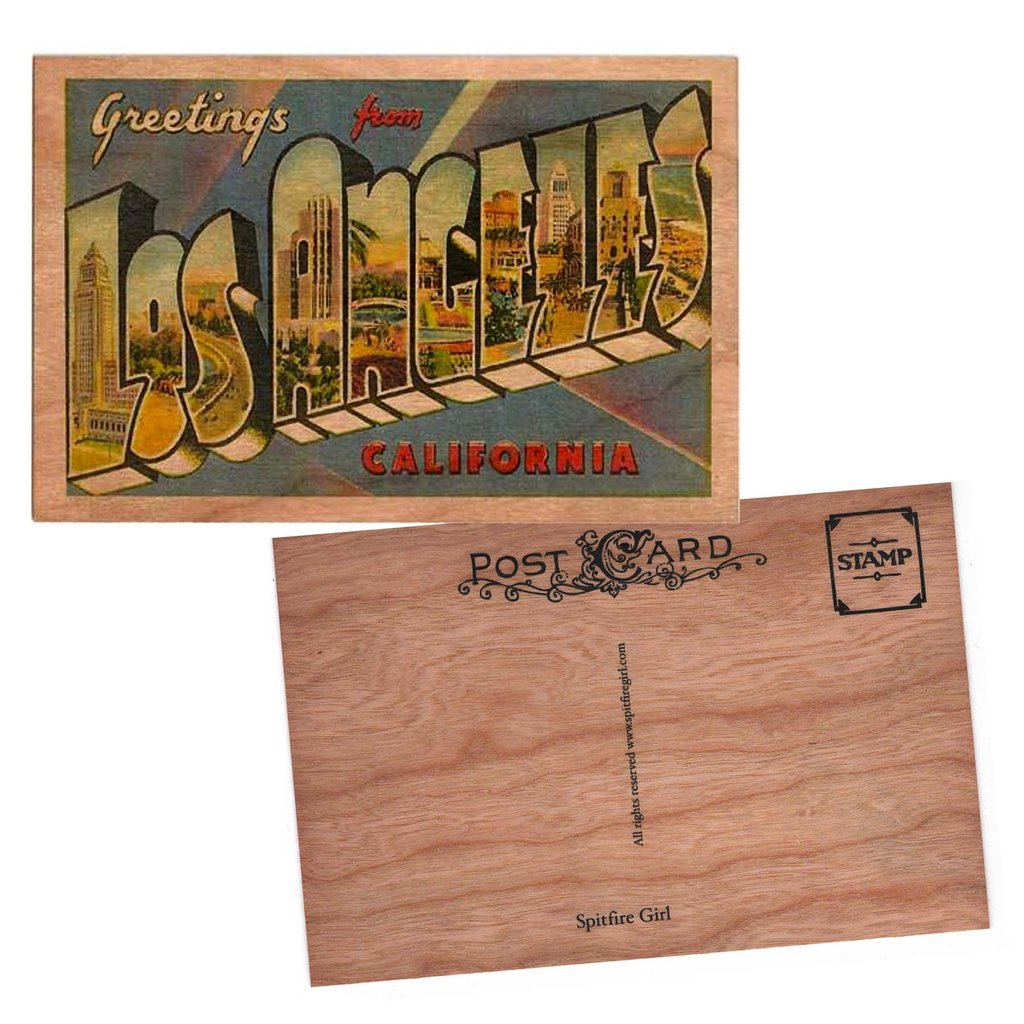 Wood Postcard Greetings from Los Angeles