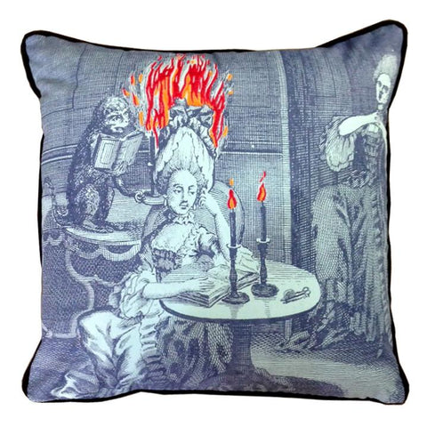Lady on Fire Embroidered Pillow
