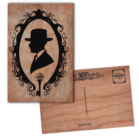 Wood Postcard Man Silhouette