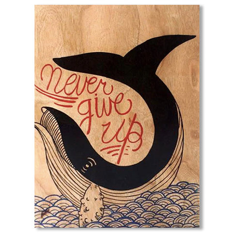 Encouragement Never Give Up Wood Folding Card