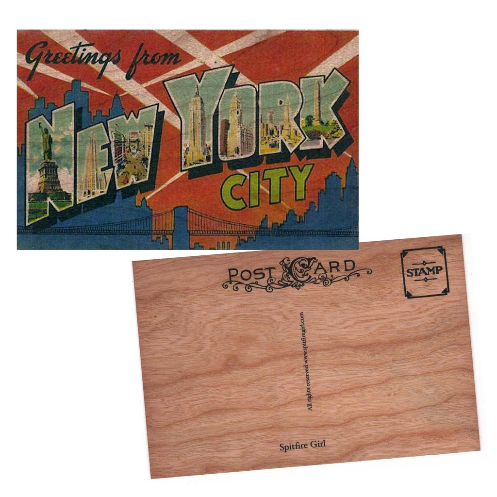 wood postcard greetings New York City