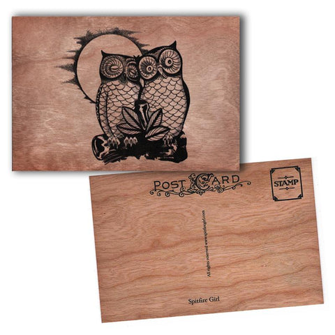 Wood Postcard Owl Love