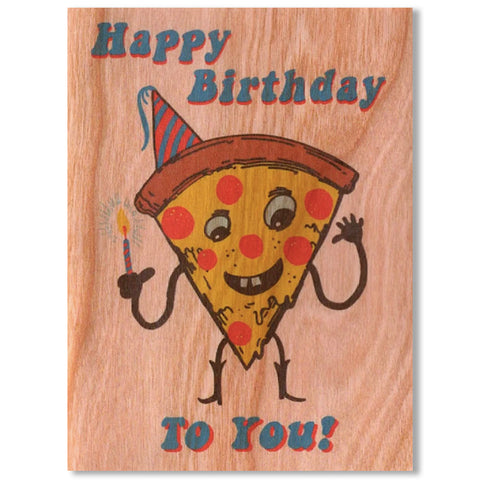Birthday Wood Card~ Pizza Birthday