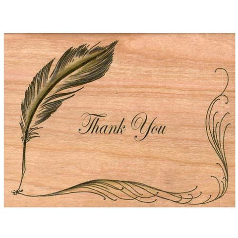 Thank You Quill Wood Folding Card