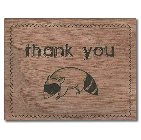 Thank You Raccoon Wood Folding Card