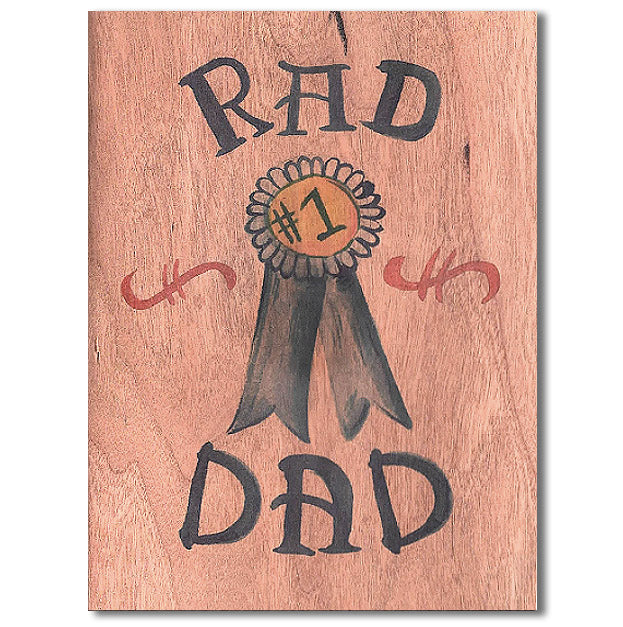 Fathers Day Rad Dad Wood Card