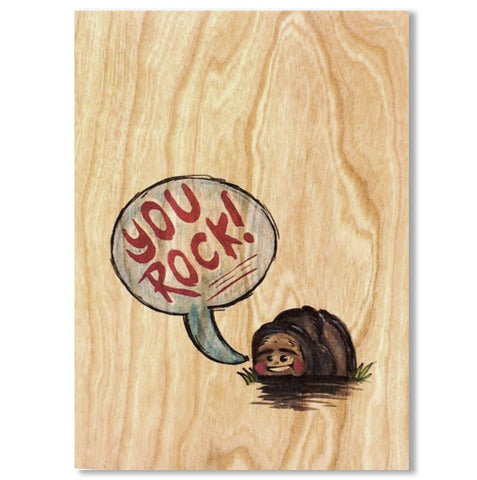 Wood Folding Card You Rock