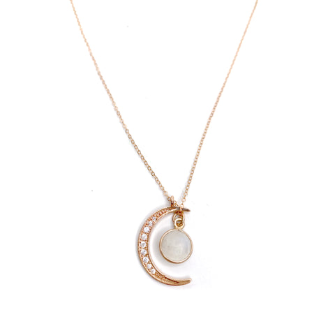 Rose Gold Moon Pendant with Opal