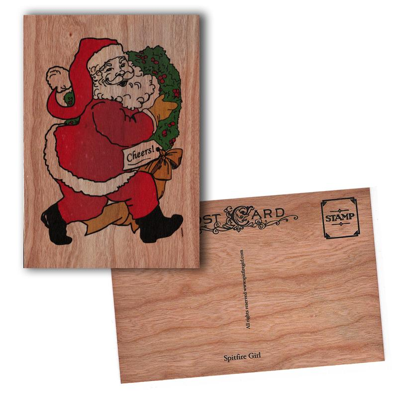 Holiday Wood Postcard Santa Cheers