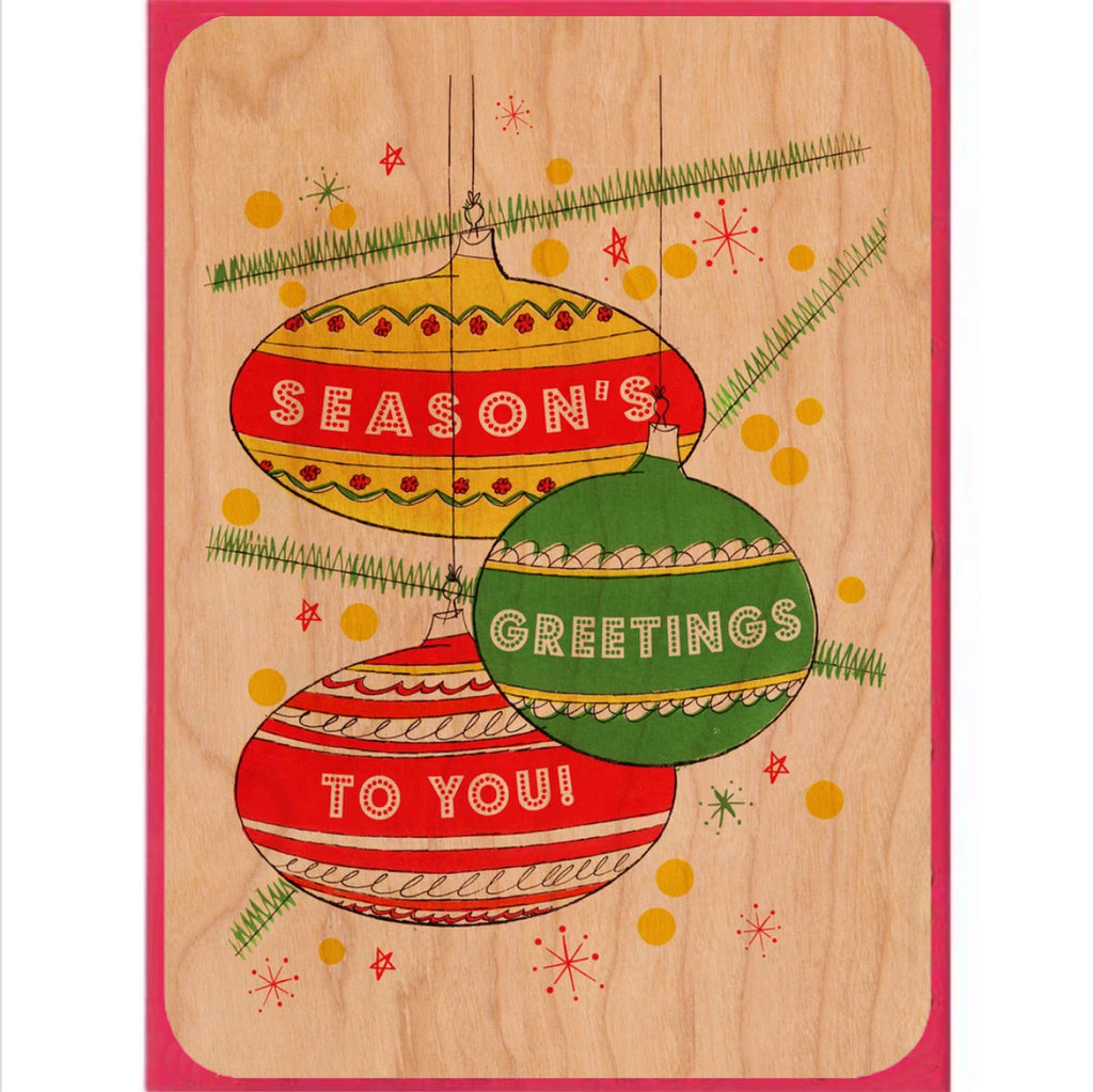 Holiday Wood Flat Card~ Retro Holiday
