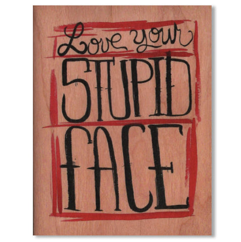Romantic Stupid Face Wood Folding Card