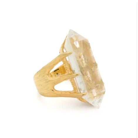 Crystal Talon Ring | Gold / Quartz