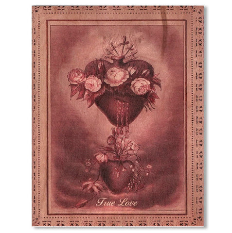 Romantic True Love Wood Folding Card