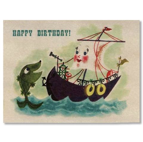 Happy Birthday Tug Boat Wood Folding Card