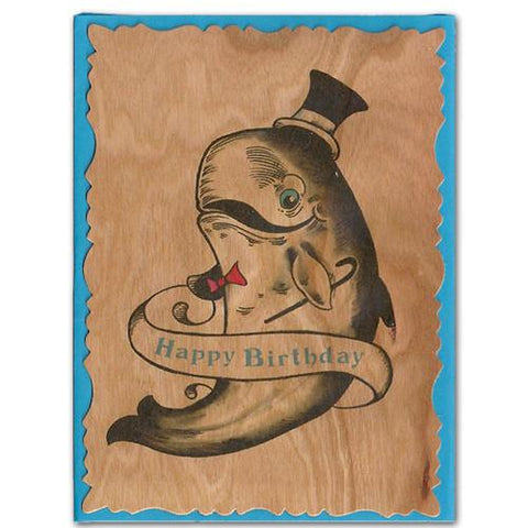 Birthday Wood Card Top Hat Whale