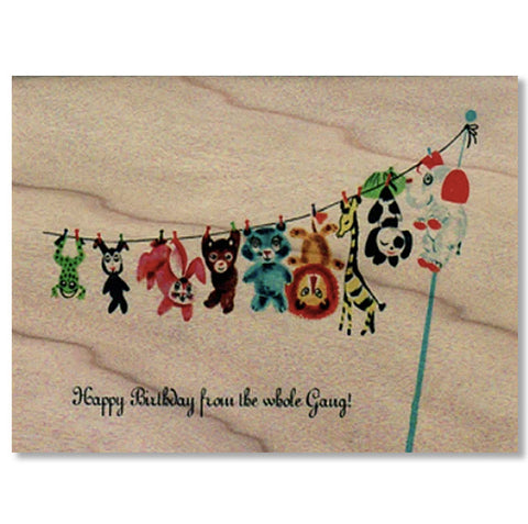 Birthday Wood Card Whole Gang