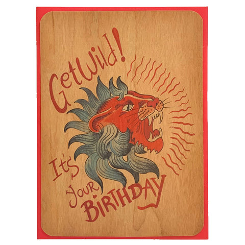 Birthday Wood Card Get Wild!