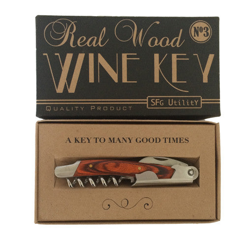 wood wine key