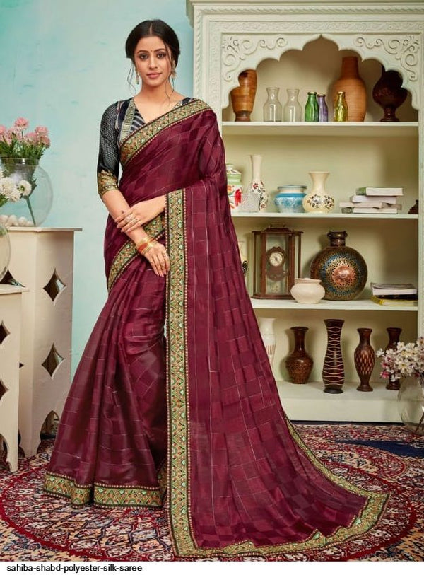 Polyster Silk Jari Work Saree