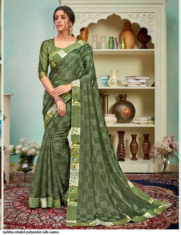 Mehendi Green Polyster Silk Jari Work Saree