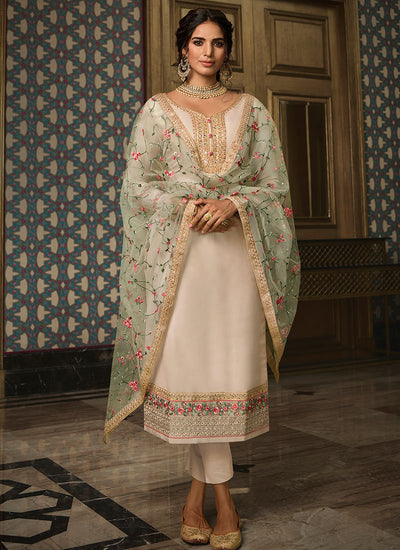 Off White and Mint Tussar Silk Straight Suit